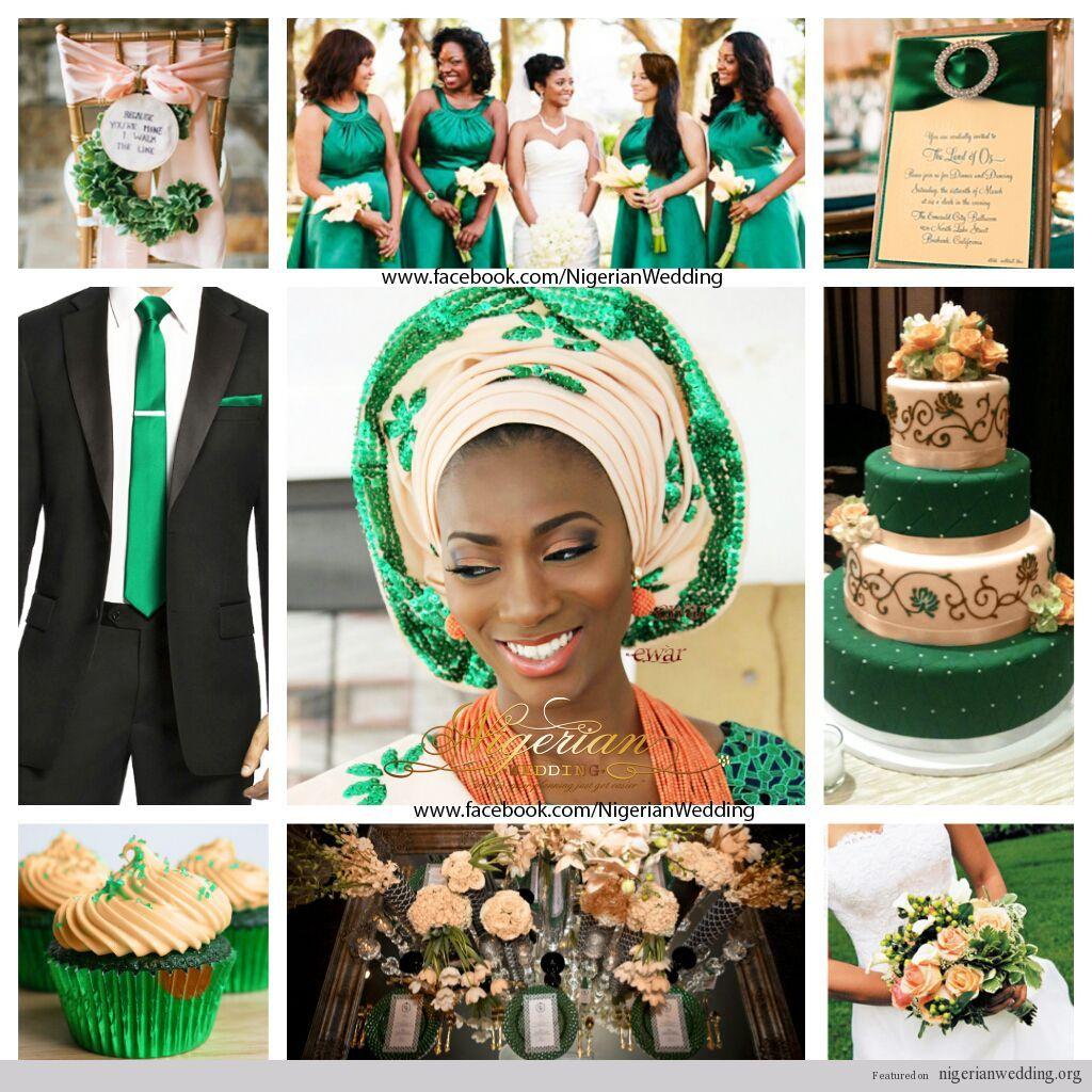 Nigerian Wedding Emerald Green And Peach Wedding Color Scheme