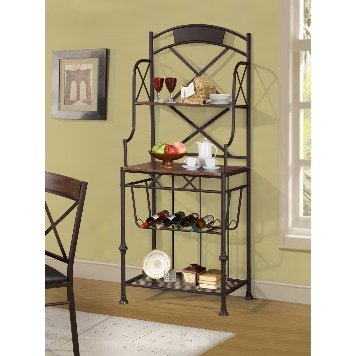 Callimont Brown Metal 3 Shelf Bakers And Wine Rack Wine Storage
