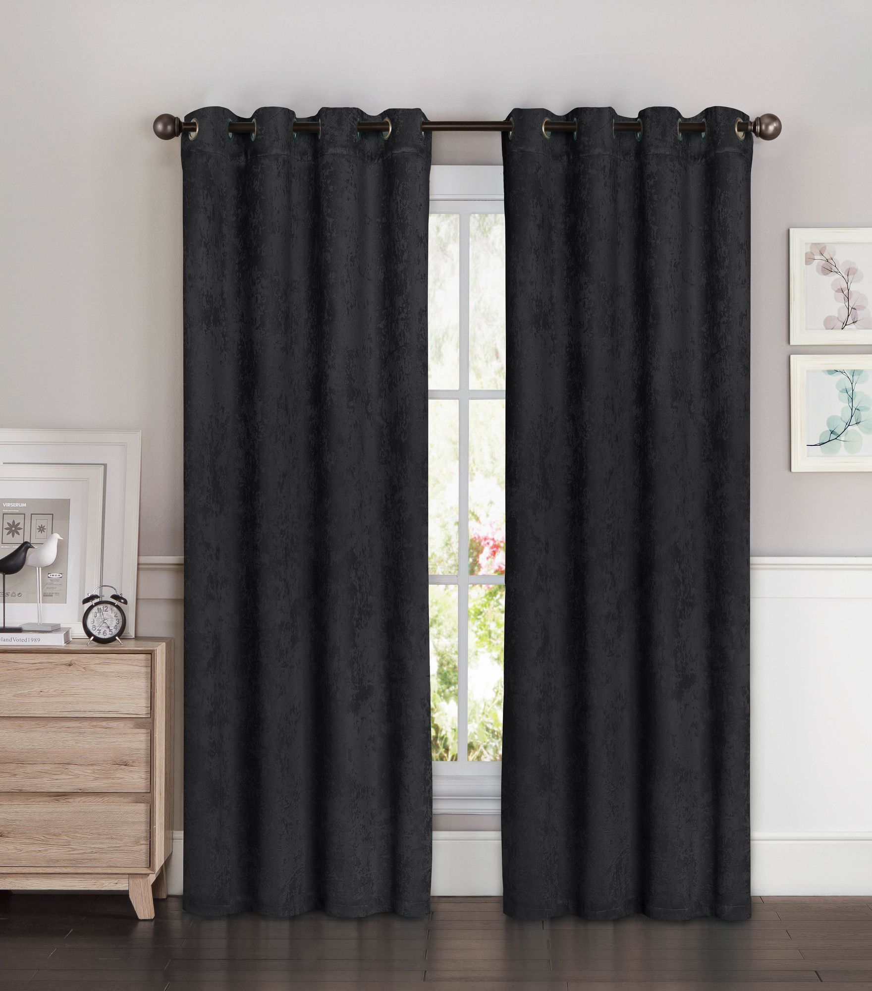 Faux Suede Room Darkening Extra Wide Curtain Panels Panel