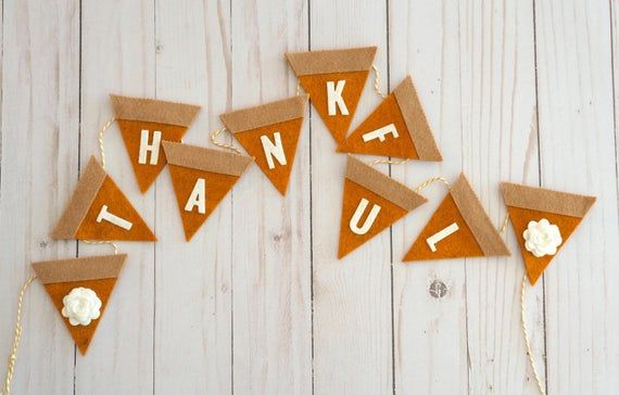 Thankful Garland Fall Mantle Decor Thanksgiving Banner Felt | Etsy