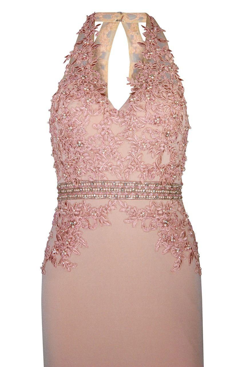 Peach Floral Evening Dress.
