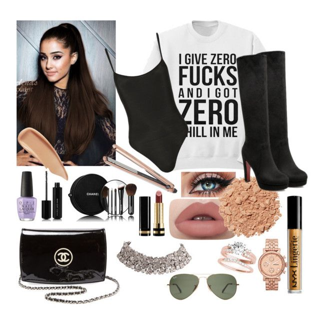 """Completed look of Ariana Grande !"" by faanciella ❤ liked on Polyvore featuring Only Hearts, DIVA, OPI, Marc Jacobs, Chanel, Gucci, Illamasqua, Sisley, NYX and FOSSIL"
