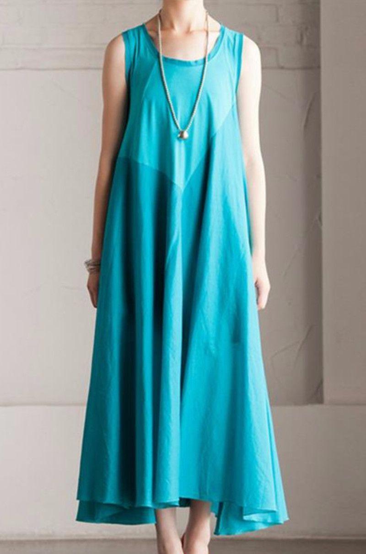Summer cotton patchwork dress maxi loose long dress sleeveless