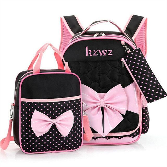8d2810bed8 Beautiful Pink Bow Girl School Bag Set High Quality Nylon Waterproof Backpack  Cute Girls Schoolbags Mochila Escolar