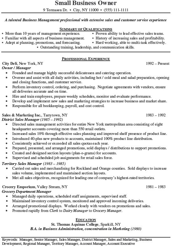 26 Small Business Owner Resume Examples Sample Resumes New and