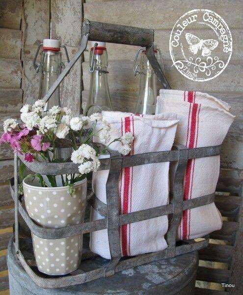 Torchon deco maison pinterest serviettes bouteille - Torchons et serviettes cuisine ...