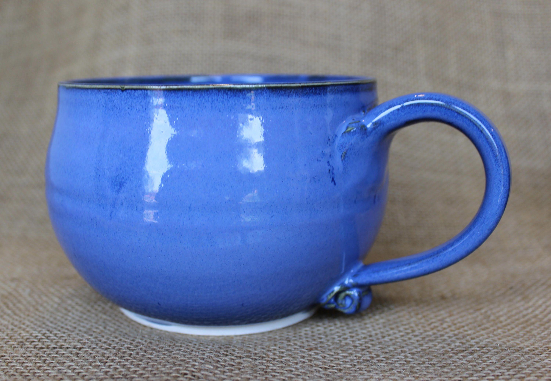 Large soup bowl with handle, wheel thrown, stoneware, Large soup mug ...