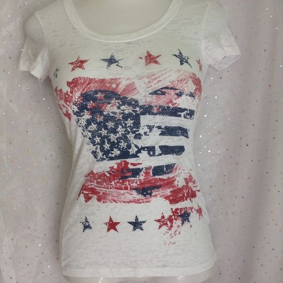 Distressed Patriotic Tee with Bling Great summer tee, perfect with cutoffs!  Distressed white tee with red and blue flag and bling in the stars.  50% cotton, 50% polyester.  Super soft. Maurices Tops Tees - Short Sleeve