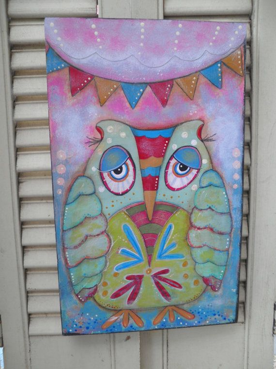 Original folk art mixed media painting Owl at by confoundedfolkart, $36.00
