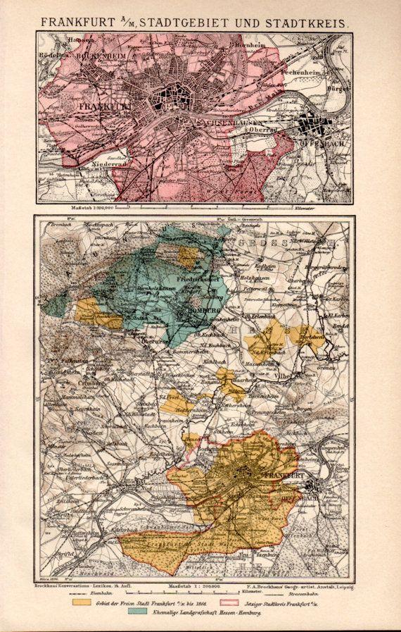 Bad Homburg Germany Map.1898 Frankfurt Am Main Antique Map Vintage Lithograph Frankfurt
