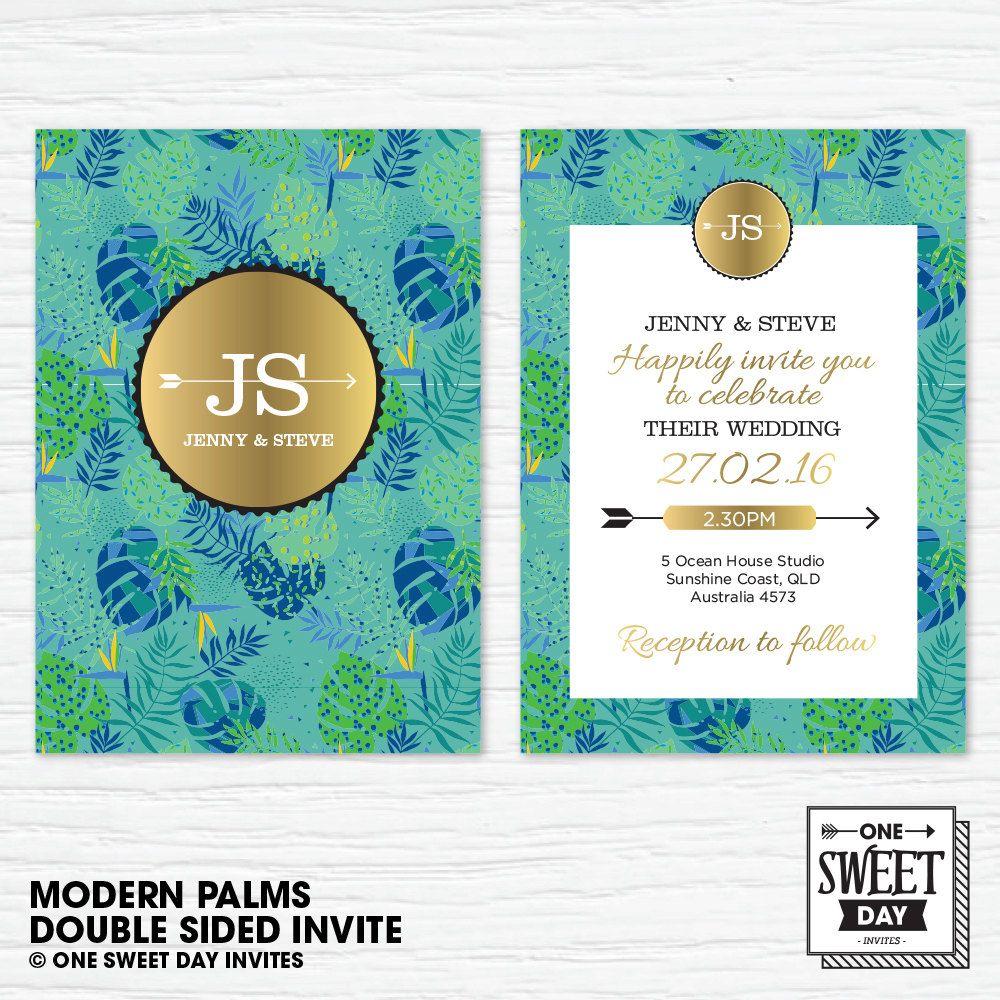 Wedding Invitation printable, Destination wedding, Green Palm leaves ...