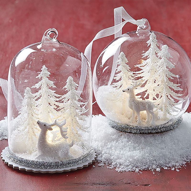 "Raz 4"" LED Lighted Cloche Dome with Winter Scene Glass"