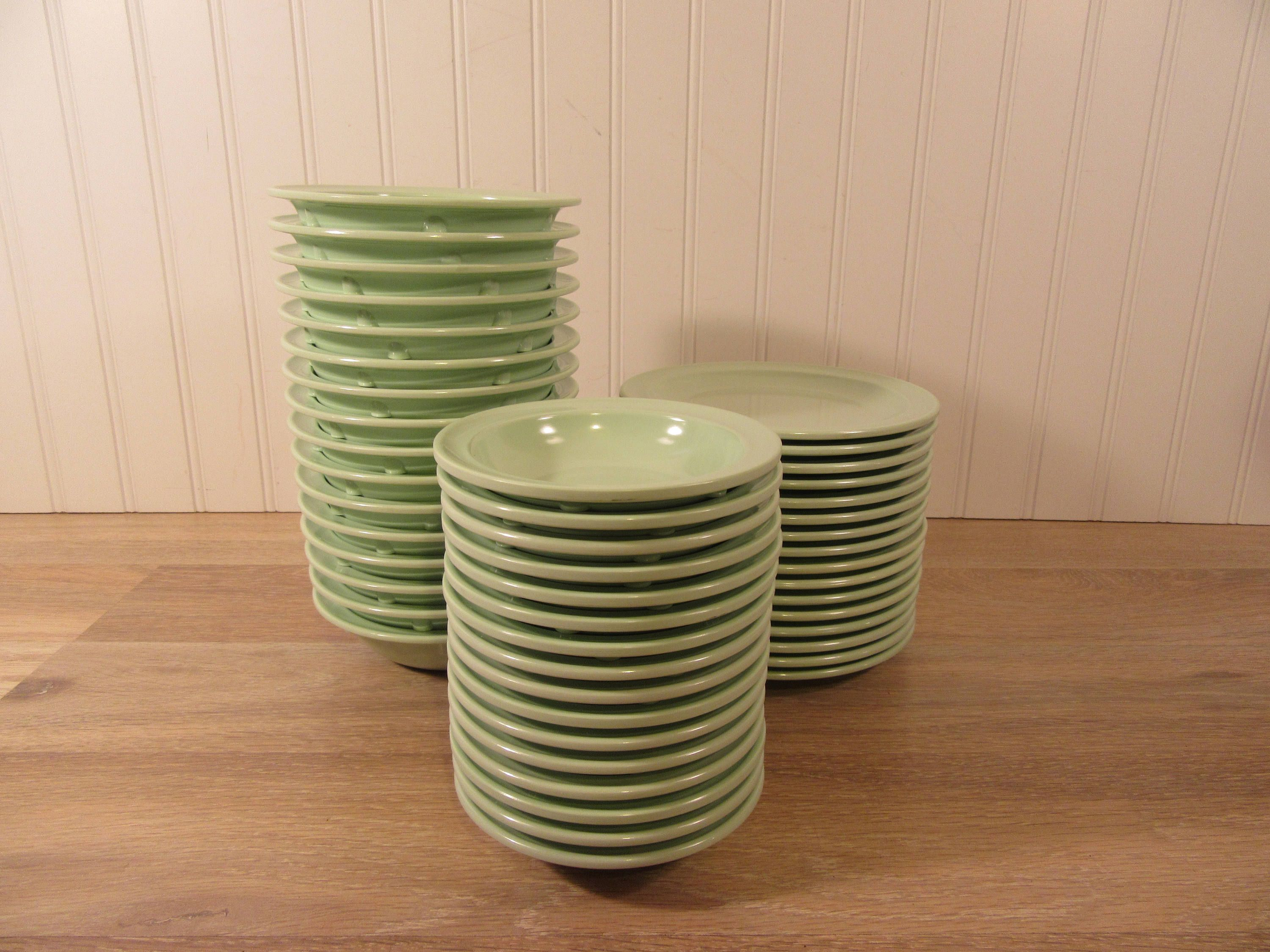 36 pieces of melamine dish ware- Prolon mint green-mid century- bowls, dishes and small plates for one price- nice condition #dishware