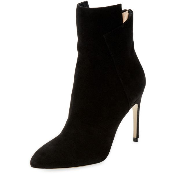 Sergio Rossi High Heel Suede Bootie (5.230 NOK) ❤ liked on Polyvore featuring shoes, boots, ankle booties, black, black high heel booties, black high heel boots, suede booties, short black boots and black ankle boots