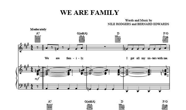 We Are Family Sheet Music Sister Sledge Download We Are Family