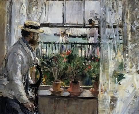 Berthe Morisot ( 1841 – 1895) was a painter and a member of the circle of painters in Paris  known as Impressionists.  Undervalued for over a century, possibly because she was a woman, she is now considered among the first league of Impressionist painters.  This is a portrait of her husband, Eugene Manet, who is Claude Manet's brother.
