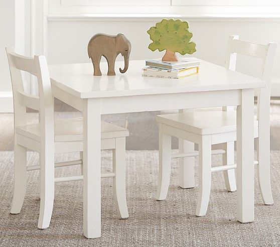 My First Play Table Chairs Simply White Pottery Barn Kids