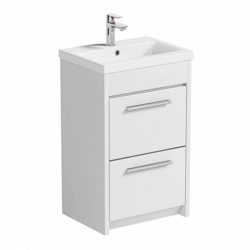 Clarity White Floorstanding Vanity Unit With Ceramic Basin 510mm