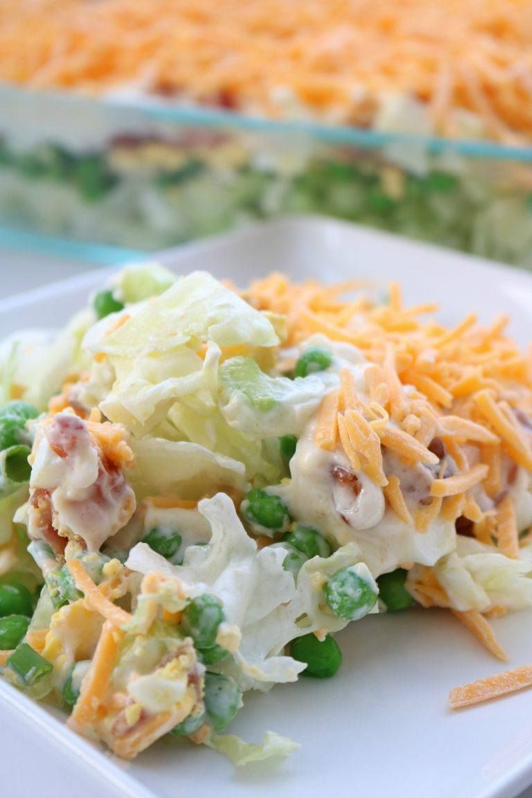 Layer Salad~ 1 small head of lettuce chopped into bite size pieces 1 cup celery ½ cup green onions, chopped and tossed with celery to make 1 layer. 2 cups frozen green peas, do not cook 6 hard boiled eggs diced. 1 lb. bacon fried and crumbled 2 cups grated cheddar cheese Dressing: 2 cup mayonnaise 2 Tbsp. sugar ¼ tsp garlic powder 1 tsp. seasoning salt (I ...