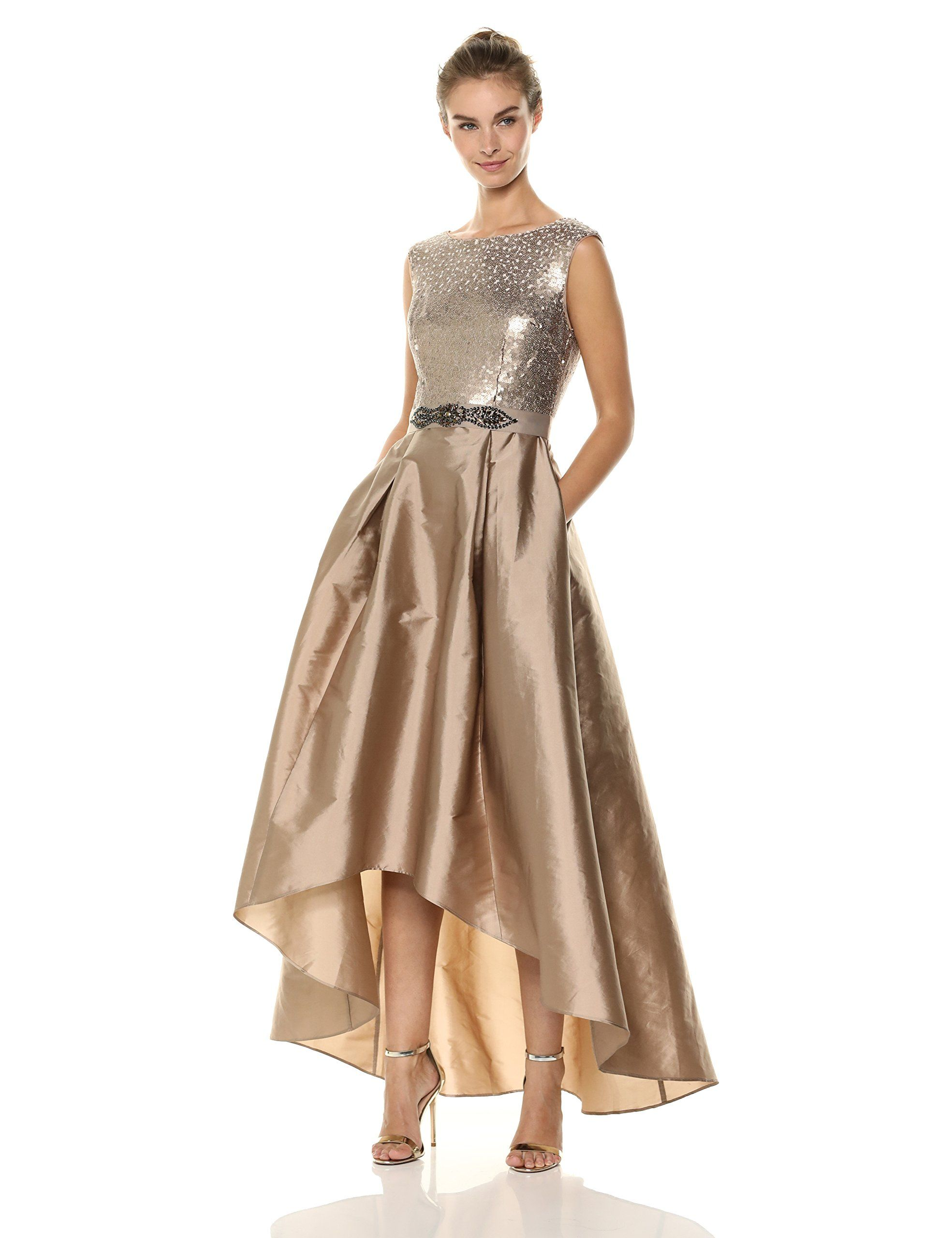 b48b9ca828 Adrianna Papell Womens Ombre Sequin HighLow Dress with Taffeta Skirt Antique  Bronze 8    You can get additional details at the image link-affiliate  link.