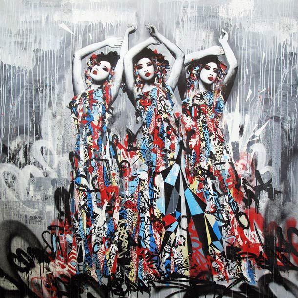 hush entre geisha et street art le collage peuple et graffiti. Black Bedroom Furniture Sets. Home Design Ideas