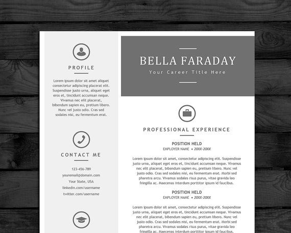 Modern Resume Template Design 2 pages + matching cover page Easy - resume template for pages