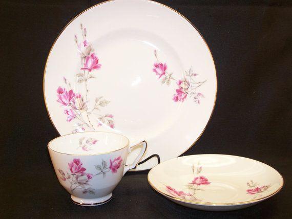 Vintage Royal Victoria Pink Rose Fine Bone China Cup Saucer Plate ENGLAND   by GarageSaleGlass, $21.99