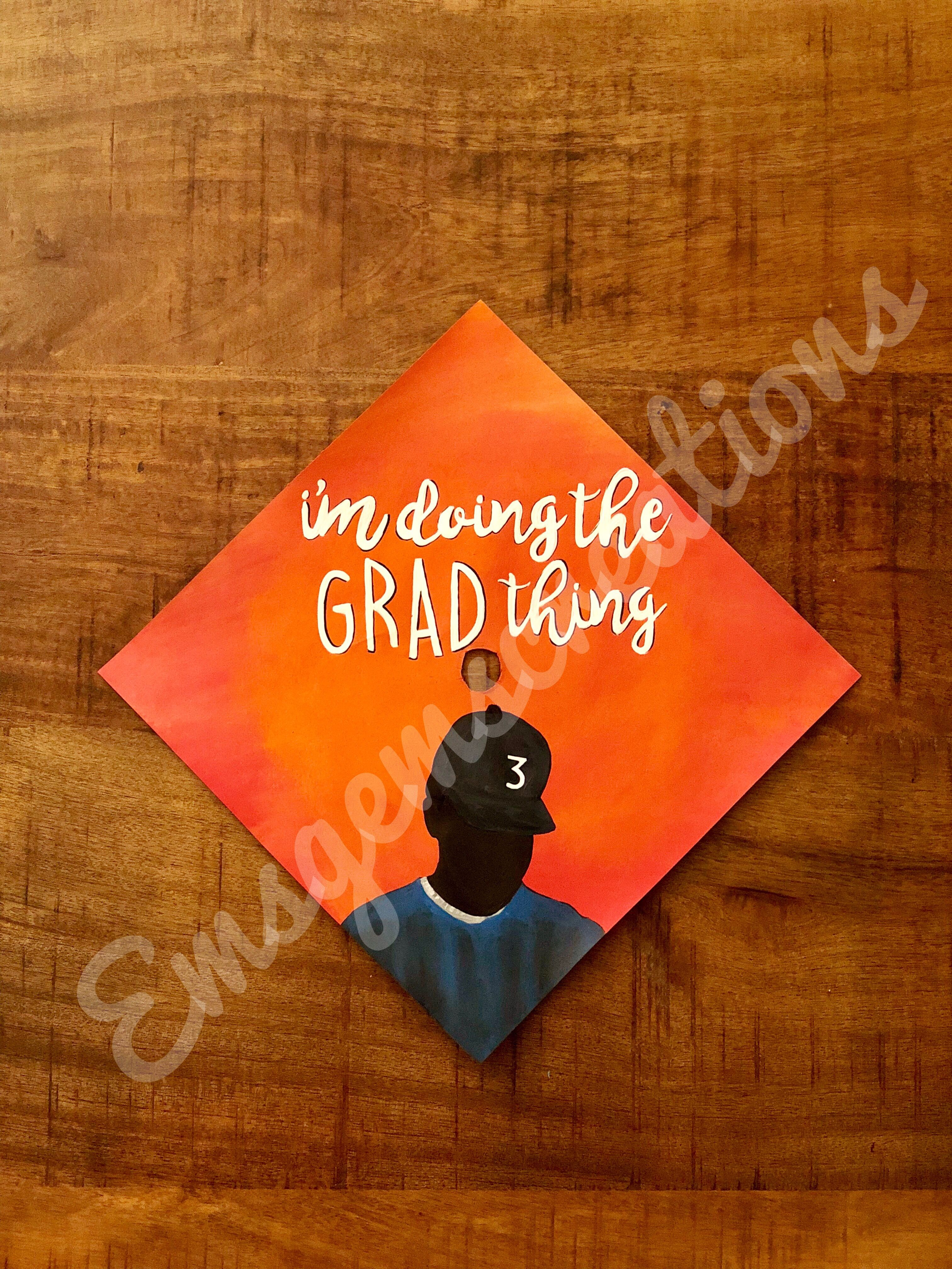 i m doing the grad thing painted chance the rapper graduation cap