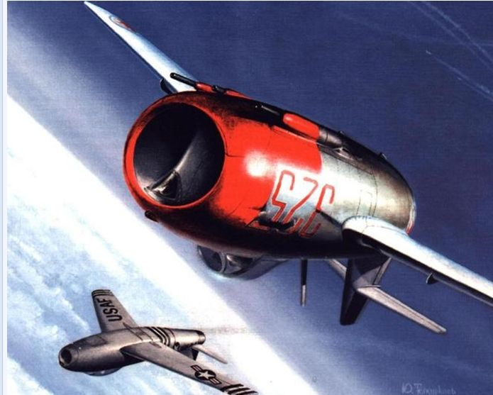 A F-86 and Mig-15s are in dog fight to kii enemy during Korean War.