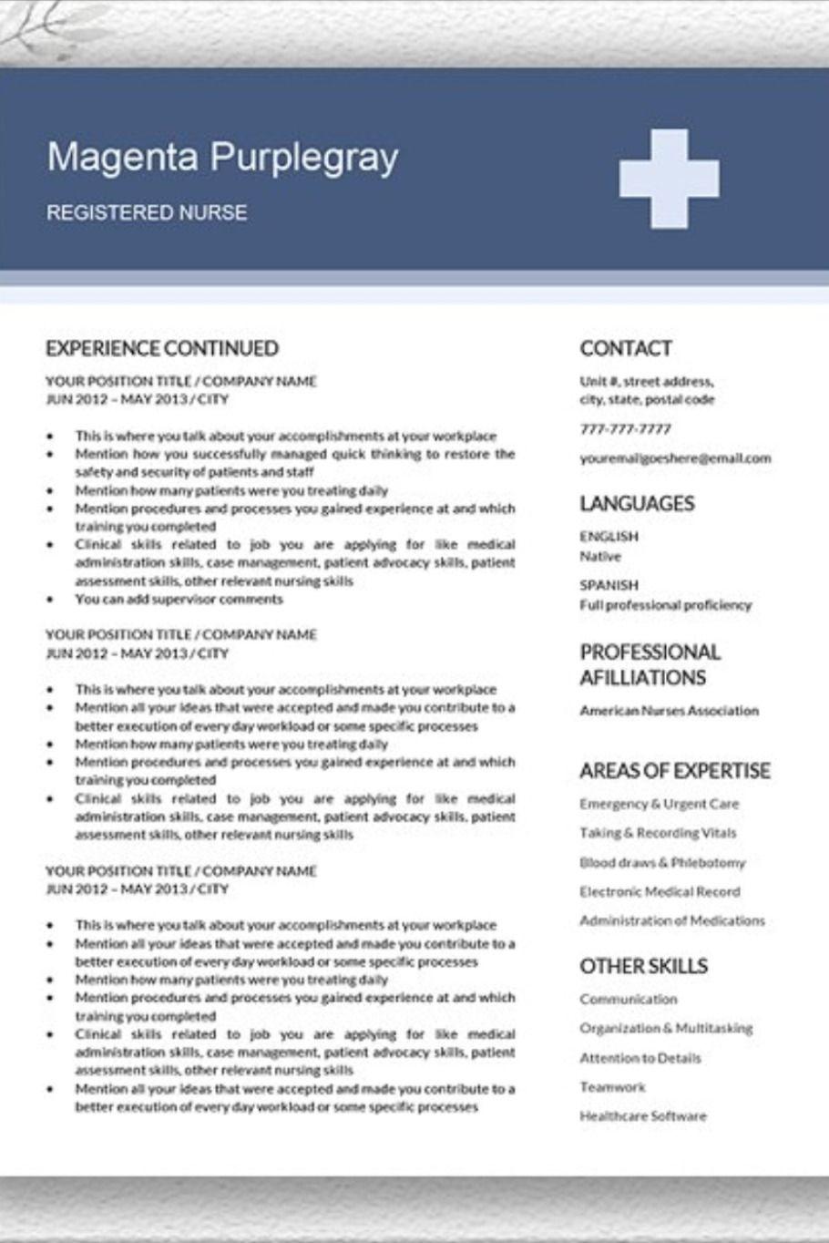 CV Resume Medical Edition in 2020 Nursing resume