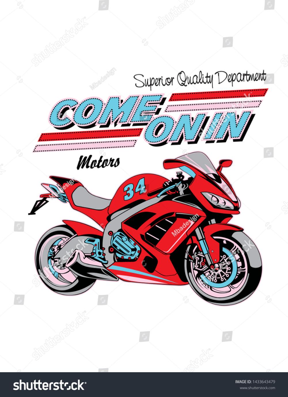 Motorcycle Racing Design Print Vector Stok Vektor Telifsiz 1433643479 2020 Tasarim Desenler