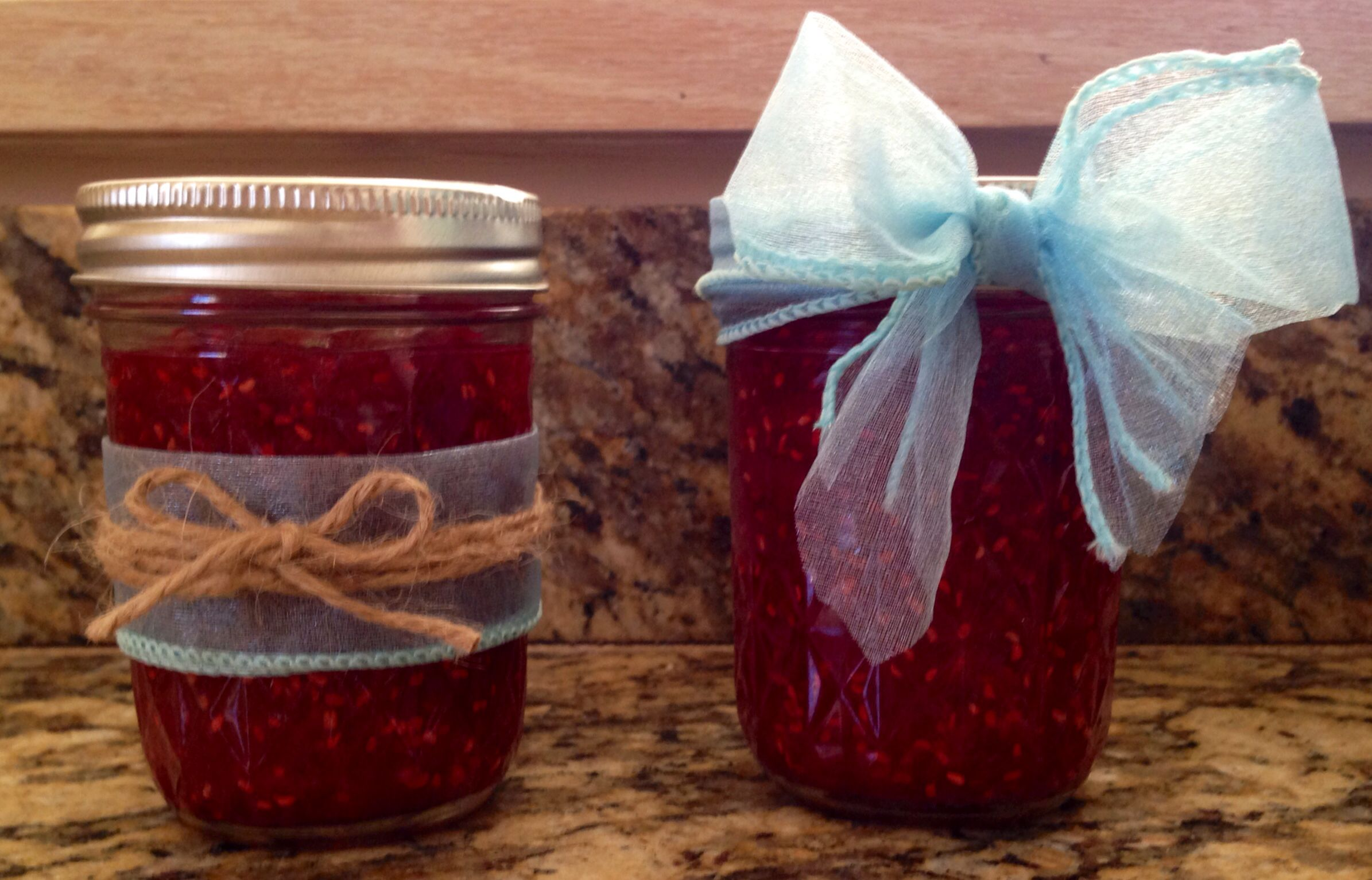 Homemade Raspberry Jam and I even decorated my jars!