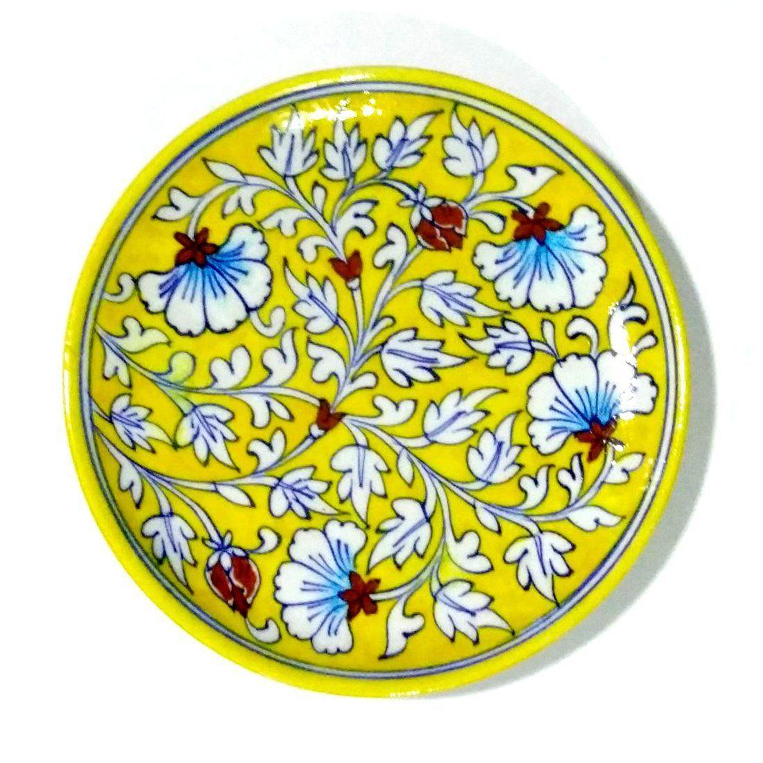 Buy Aurea Blue Pottery Decorative Wall Plate (8\