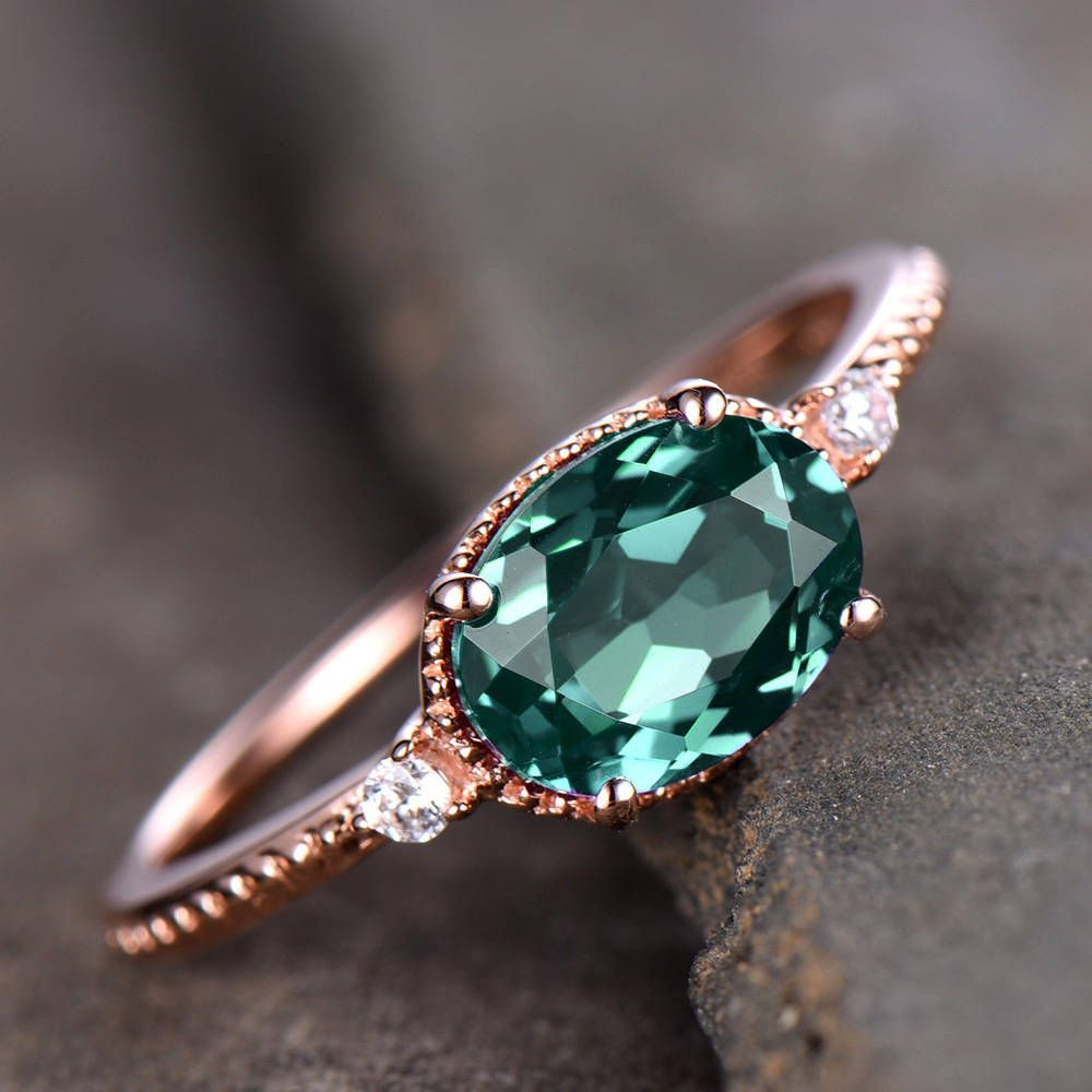Alexandrite engagement ring unique east to west ring 6x8mm