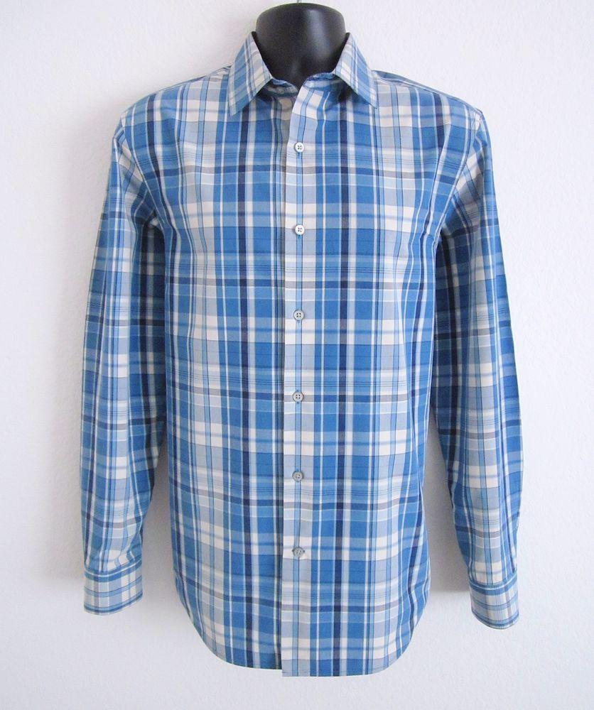 BANANA REPUBLIC Mens M Blue Beige Black Plaid Button Front