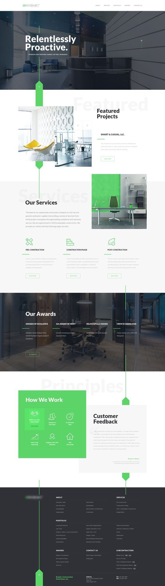Interior Construction Company Website Design: I like the fluidity on this one-pager. It has everything you need on the homepage. The top menu could just jump to each section on this page.