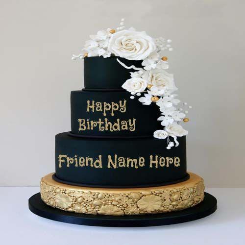 Write Friend Name On Flower Decorative Birthday Cake.Name