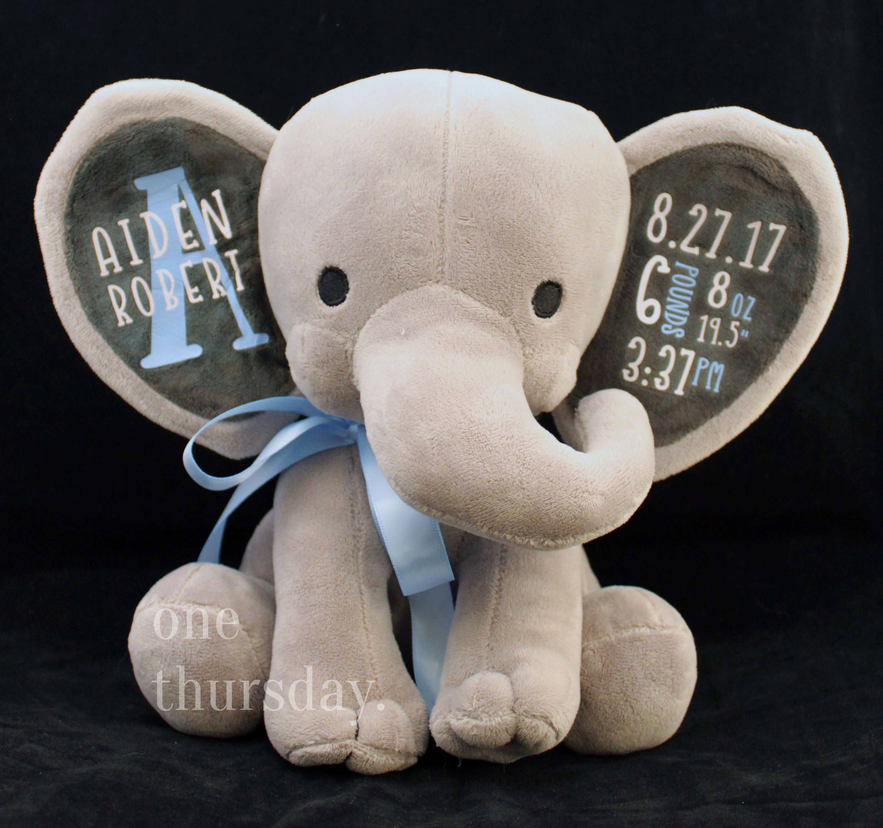 Personalized Baby Stuffed Animals, Pin By Janice Seppala On Birthday And Photo Ideas Elephant Birth Personalized Baby Gifts Baby Gifts