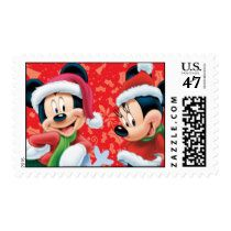 Red Holiday Mickey & Minnie With Snowflake Postage Stamp