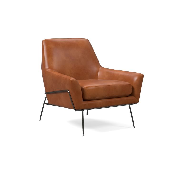 Lucas Wire Leather Chair is part of Living Room Chairs Libraries - Made to order in your choice of leather, our Lucas Chair has a reclined pitch that makes it extra inviting  The chair is cradled in a sturdy metal frame adds an industriallycool look to living spaces or reading nooks