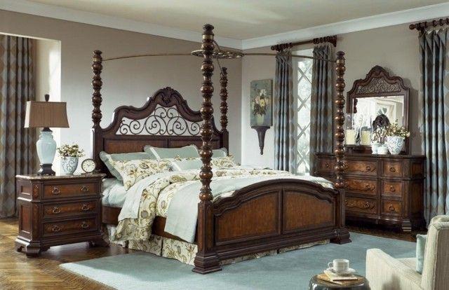 Dormitorios matrimonio con camas con dosel | Camas de madera, Camas ...