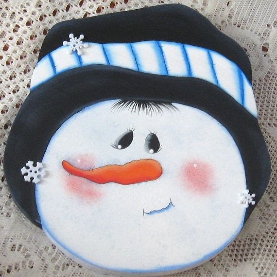 Snowman Cookie Jar Lid Wood Decor Handmade Wimsey by jusbcuz