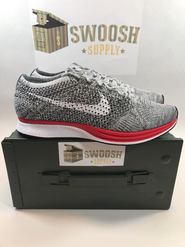 new styles 61d64 337e6 Nike Flyknit Racer No Parking Wolf Grey Pure Platinum Red Sz 13 526628 013  New  Nike  AthleticSneakers