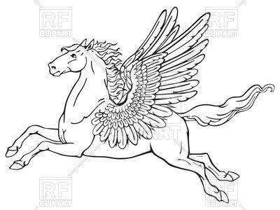 Flying Pegasus In Heraldic Style