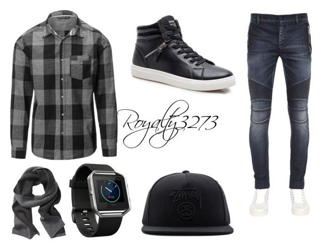"""UNknown"" by royalty3273 on Polyvore featuring Balmain, Banana Republic, Fitbit, Stussy, men's fashion and menswear"
