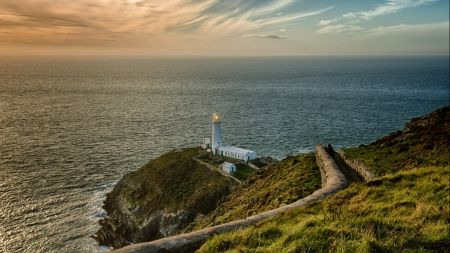 lighthouse on a bluff - bluff, ocean, coast, wall, path, lighthouse