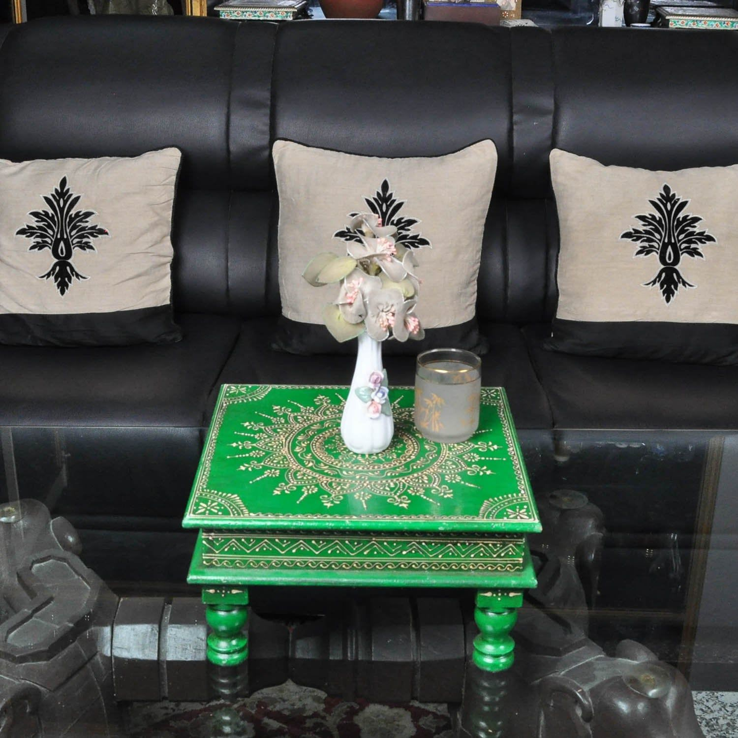 Home Decorative Puja Chowki Low Side Table Green Wood Furniture Stool End Table 12 Inches Wood Furniture End Tables Decor