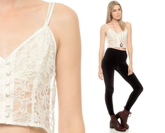 Sheer Lace Tank 80s Cami Top White Blouse Camisole By