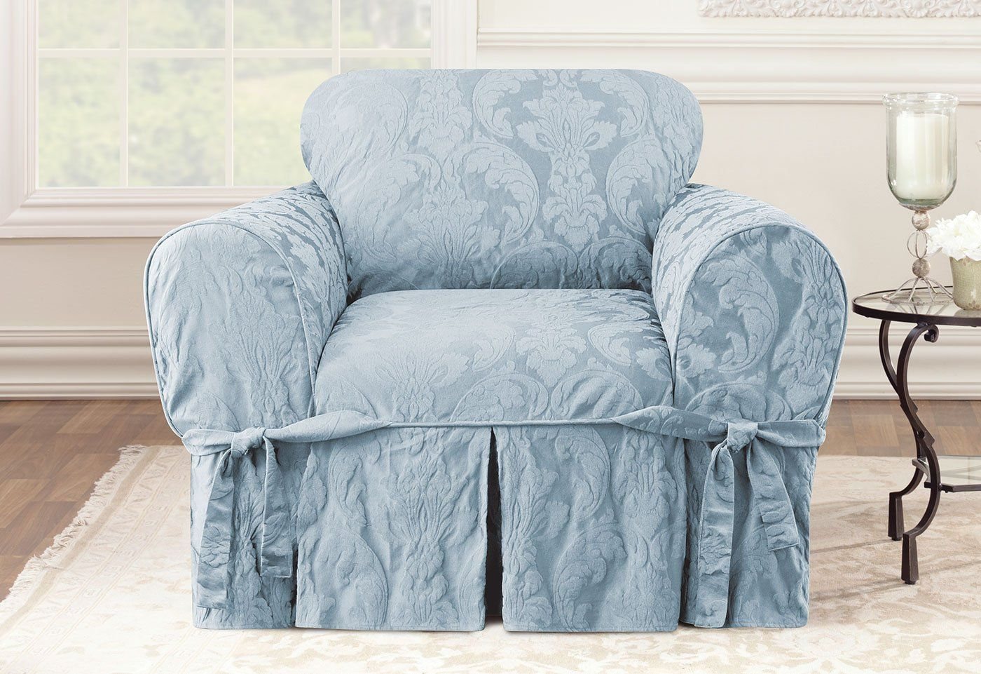 Matelasse damask one piece chair slipcover relaxed fit