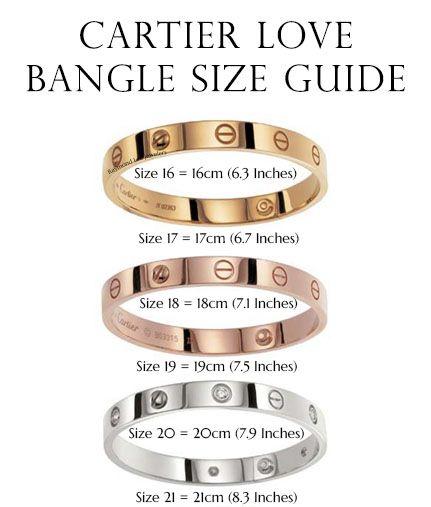 cartier love bangle size guide designer gems jewelry